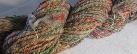 Carney's Breakfast - Muted candy striped hand spun, hand dyed yarn