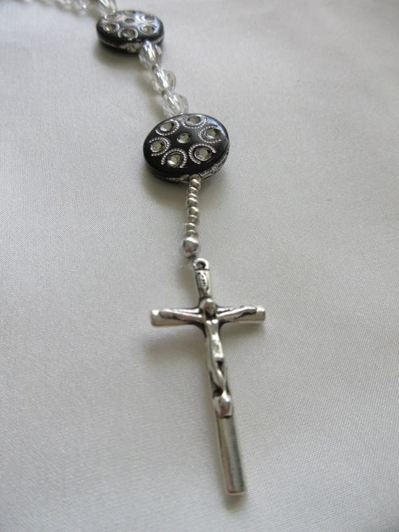 Rosary Beads in Black and Clear
