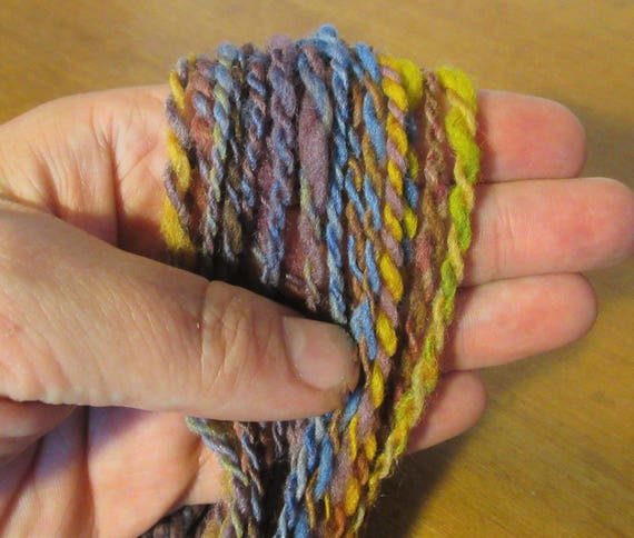 Handspun, hand dyed, multi colored yarn
