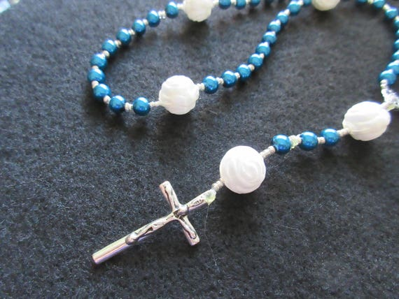 Rosary Beads - Blue with white roses