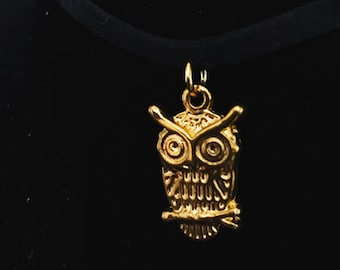 Gold tone owl charm choker