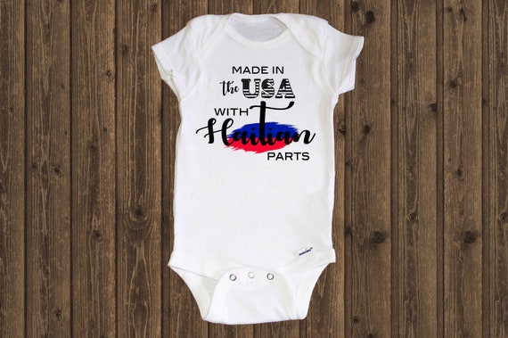 Baby clothing Bodysuit Infant Clothing Haitian Flag Made in the USA with Haitian parts Haiti