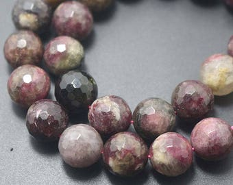 """Natural 128 Faceted Tourmaline Round Beads,Tourmaline Beads, Natural beads,one strand 15"""",Gemstone Beads,4mm 6mm 8mm 10mm"""