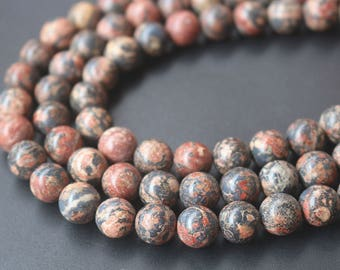 Full Strand Red Leopardskin Jasper Gemstone Smooth Round Beads,15'' per strand