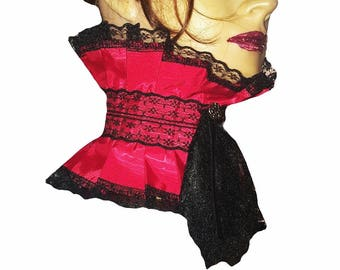 4c5bf5a33d7 Steampunk Red Taffeta Moire Neck Choker Corset Collar Black Lace Jabot  Victorian Goth Regency Burlesque