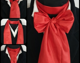 Red silk jabot for women/'s Oversize necklace collar Red silk Accessories for women/'s Detachable silk collar