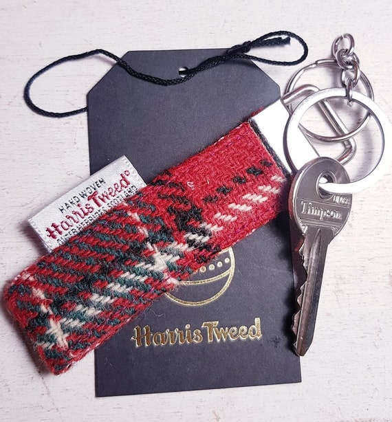 GENUINE HARRIS TWEED KEYRING FOB JADE GREEN /& RED BAG CHARM CHRISTMAS GIFT KEYS