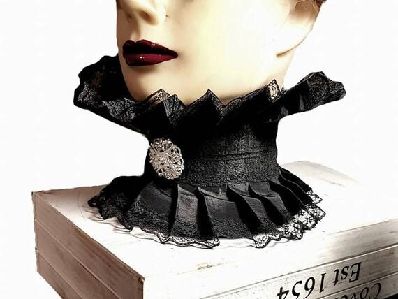 Maroon Shoulder Neck Corset With Gloves Goth Black Collar Victorian Steampunk