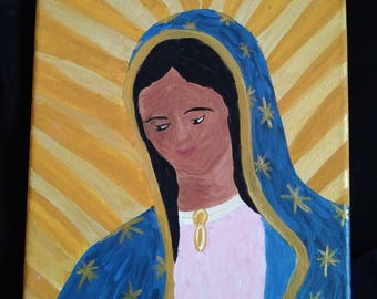 Hand-painted Guadalupe Painting, sacrament gift, confirmation gift