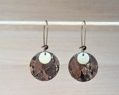Bronze Brown Cork fabric round fashion earrings and gold pattern Toffee
