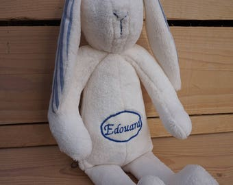 Personalized embroidered stuffed rabbit, to order