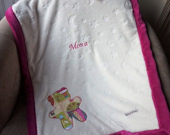 Lined baby name blanket, very soft, lined