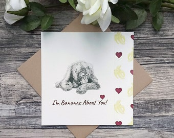 Orangutan Card,Cute Cards for Her,Monkey Card,Funny Love Card,Cute Animal Cards,Cute Anniversary Card,Animal Lover Card,Animal Pun Card