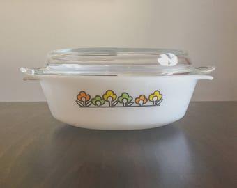 Anchor Hocking Fire-King Baking Dish, Summer Field, Retro Flowers, Glass Lid, Vintage Kitchenware