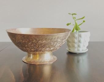 Vintage Brass Bowl, Decorative Bowl, Trinket Holder, Floral Etching, Made in India