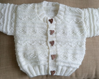 Soft cream aran knit cardigan with wooden buttons