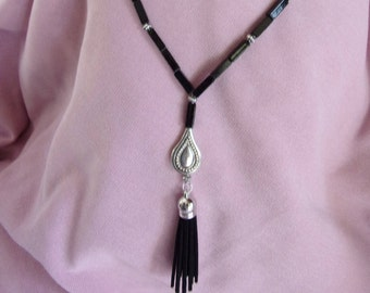 Blackstone and pewter tassel necklace