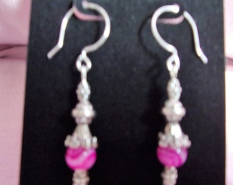 Pink banded agate with pewter earrings on sterling silver french hooks