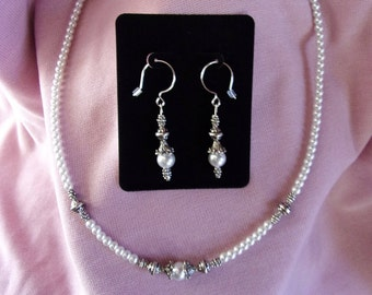 18 inch pearl and pewter necklace with matching earrings on sterling silver french hooks