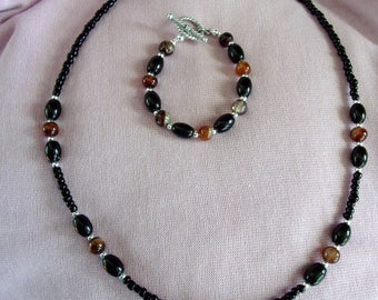 Red and black agate with glass necklace and bracelet set