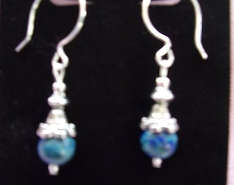 Chrysocolla and pewter earrings on sterling silver french hooks