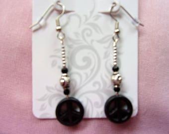Black howlite peace sign earrings
