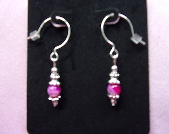 6 mm pink agate and pewter earrings with sterling silver french hooks