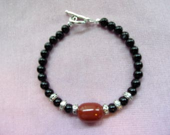 Men's Black and Red Agate bracelet with pewter spacer beads