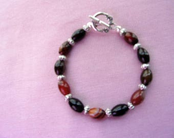 Red and Black Agate bracelet with pewter spacer beads
