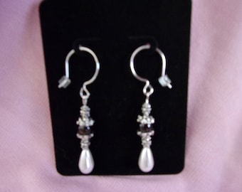 Pewter, brown agate and pearl drop earrings on sterling silver french hooks