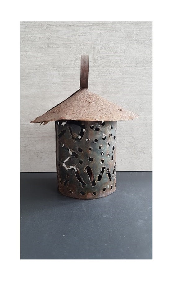Metal Candle Holder Metal Candlestick Metal Lantern Rusty Etsy