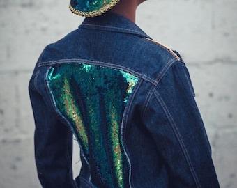 Customised Dark Denim Reversible Sequin Jacket Sizes 6-16