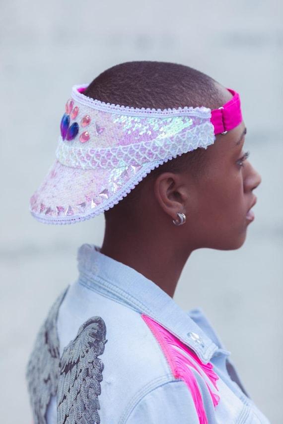 7c7a3bf024d Sequin Festival Hat Pink White Festival Hat Sun Visor