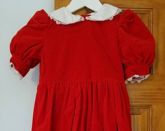 Girl's Red and Green Velveteen Dresses