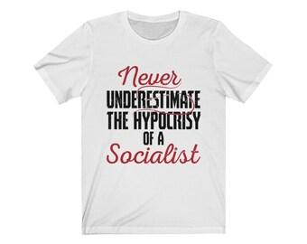 5e656141 Conservative Tee Shirt ,Anti Socialism ,Libertarian , Anti Socialist , Anti  Communism , Anti Leftist , Anti-Government ,Unisex Short Sleeve