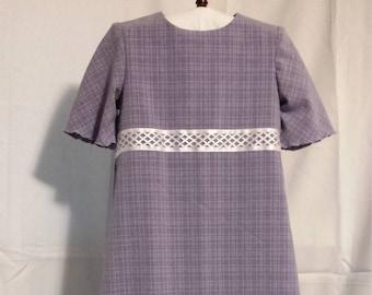 Girls purple dress, modest length, mennonite made