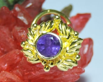 1 Piece Stylish 92.5 Sterling Silver With 24kt Gold Plated Natural Kanela Mines Purple Amethyst Gemstone Indian Nose Stud For Pierced Nose.