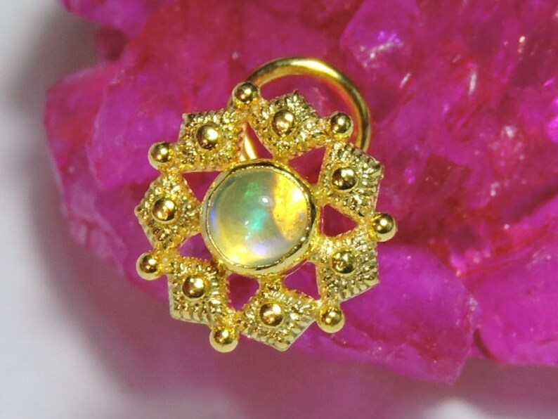 1 Piece Decorative 92.5 Sterling Silver With 24Kt Gold Plated Natural Ethiopian Opal Gemstone Indian Nose Stud For Pierced Nose.