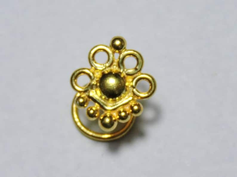 1 Piece Beautiful 24Kt Gold Plated Over 92.5 Sterling Silver Indian Nose Stud For Pierced NoseJewelleryFashion Nose StudsIndian Nose Stud