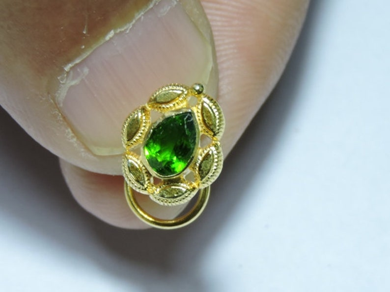 1 Piece 92.5 Sterling Silver With 24Kt Gold Plated Natural Green Tourmaline Pear Gemstone Indian Nose Stud For Pierced Nose.