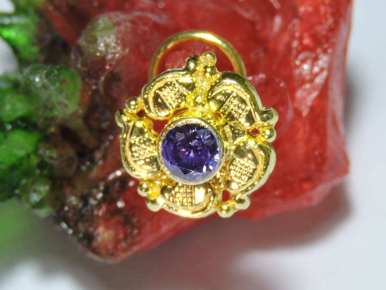 1 Piece 24Kt Gold Plated Over 92.5 Sterling Silver Purple Zirconia Gemstone Indian Nose Stud For Pierced NoseNose BaliPurple Zirconia Bali