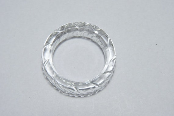 1 Piece Natural Rock Crystal Quartz Full Faceted Fancy Shaped Single Gemstone Made Ring BandTyre Ring BandWedding RingFancy Tyre Band.