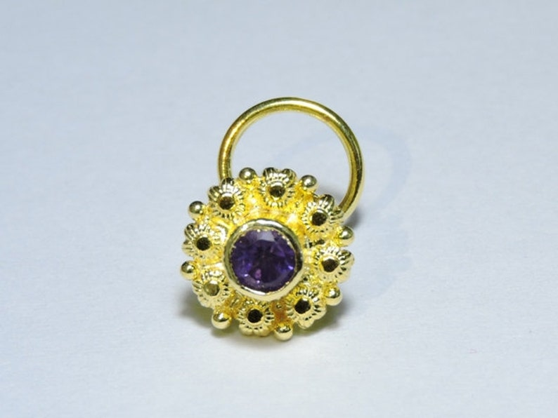 1 Piece 92.5 Sterling Silver With 24kt Gold Plated Natural Purple Amethyst Gemstone Indian Nose Stud For Pierced Nose.