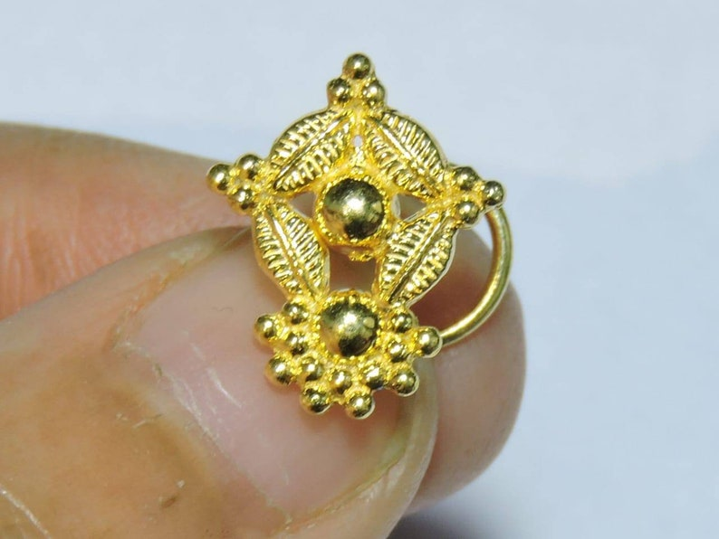 1 Piece Stunning 24Kt Gold Plated Over 92.5 Sterling Silver Indian Nose Stud For Pierced NosePiercing StudsSpiral Back Nose Rings.
