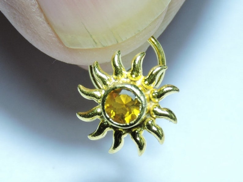 1 Piece Stunning 92.5 Sterling Silver With 24kt Gold Plated Natural Citrine Gemstone Indian Nose Stud For Pierced NoseIndian Nose Stud