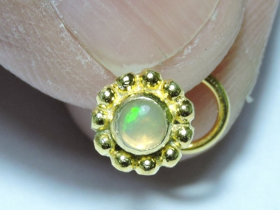 1 Piece Stylish 24Kt Gold Plated Over 92.5 Sterling Silver Natural Ethiopian Opal Gemstone Indian Nose Stud For Pierced NoseOpal Nose Studs