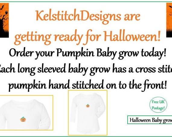 Halloween Babygrow - Pumpkin Babygrow - Hand sewn Cross stitch - Long Sleeve Babygrow - 0-3 months/3-6 months/6-12 months - Free UK Shipping