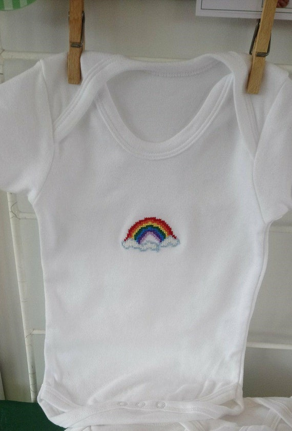 Rainbow Babygrow - Hand Sewn Cross Stitch - Long Sleeve Babygrow - 0-3 months - 3-6 months - 6-12 months - Rainbow Baby - Free UK Shipping