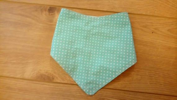 Blue Baby Bib - Polka Dot Bib - Cotton Bib - Baby Boy Bib - Handmade Bib - Bandana Bibs - Free UK Shipping