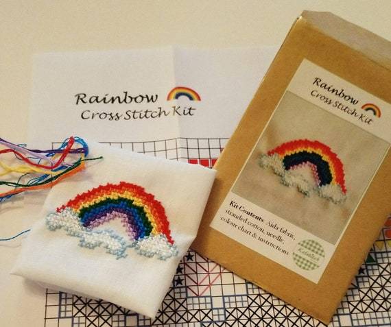Cross stitch kit - Rainbow cross stitch kit - kids cross stitch kit - DIY beginners cross stitch kit